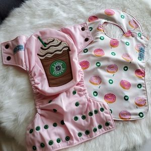 New! Coffee Starbucks donut cloth diaper bib set